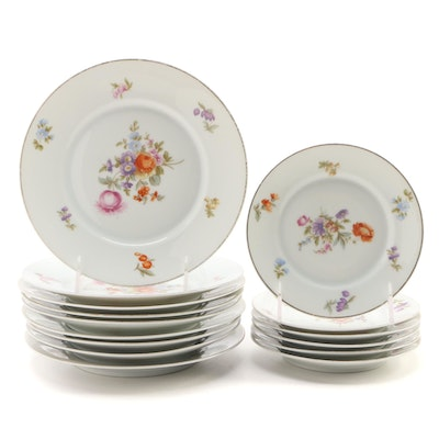 Rosenthal Floral Porcelain Plates, Early to Mid 20th Century