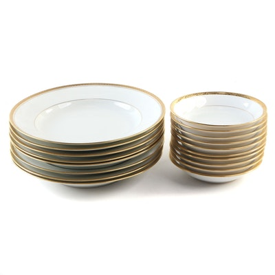 Lenox and Other Gilt Porcelain Soup Bowls and Small Bowls