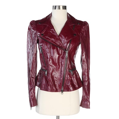 Burberry Moto Jacket in Glazed Violet Red Lambskin Leather