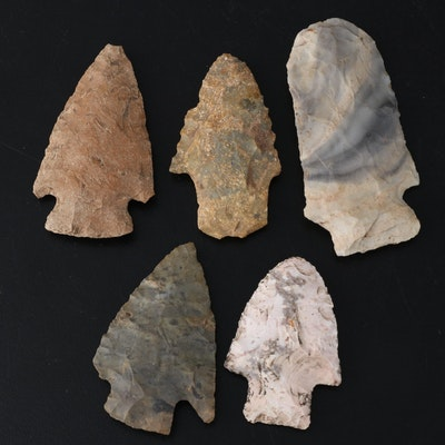 Five Knapped Stone Projectile Points