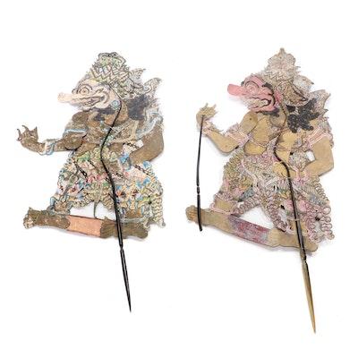 Indonesian Wayang Kulit Kumbakarna Shadow Puppets