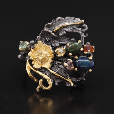 Sterling Silver Opal, Citrine and Sapphire Ring with Foliate and Floral Design