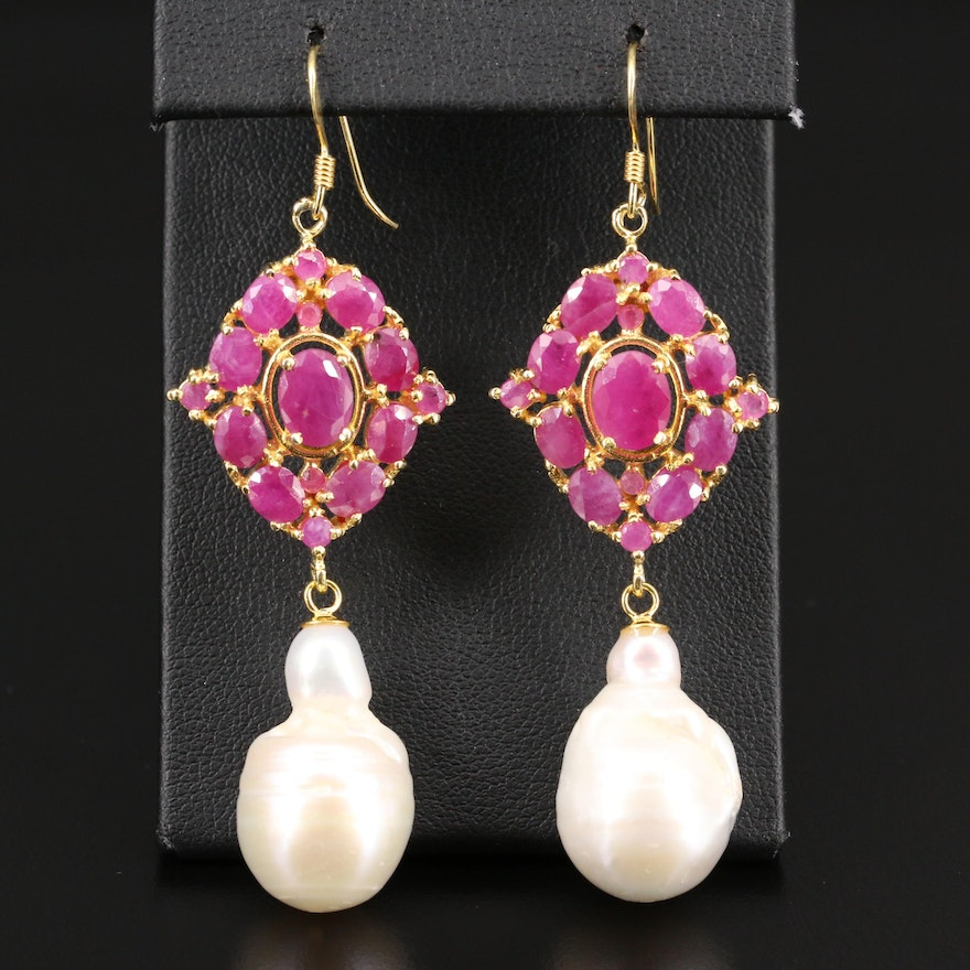 Sterling Silver Pearl and Ruby Dangle Earrings