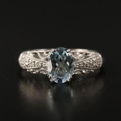 10K Aquamarine and Diamond Filigree Ring
