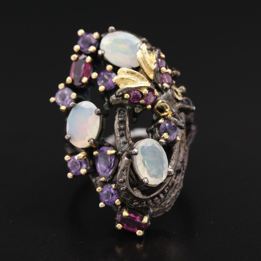 Sterling Silver Opal, Garnet and Amethyst Insect Ring with Faux Bois Detailing