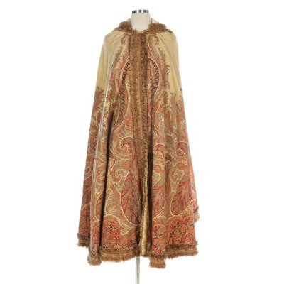 Silk Blend with Paisley Tapestry Print Hooded Cape, Vintage