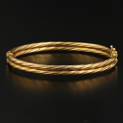 10K Textured Double Row Oval Hinged Bangle