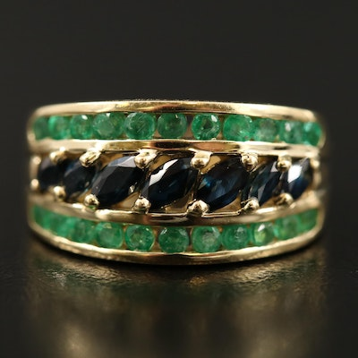 14K Triple Row Sapphire and Emerald Tapered Band