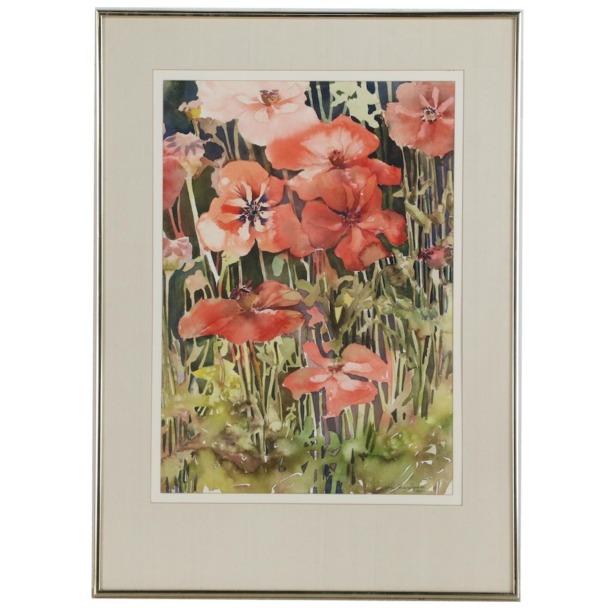 Carolyn Sherwood Watercolor Painting of Garden Flowers