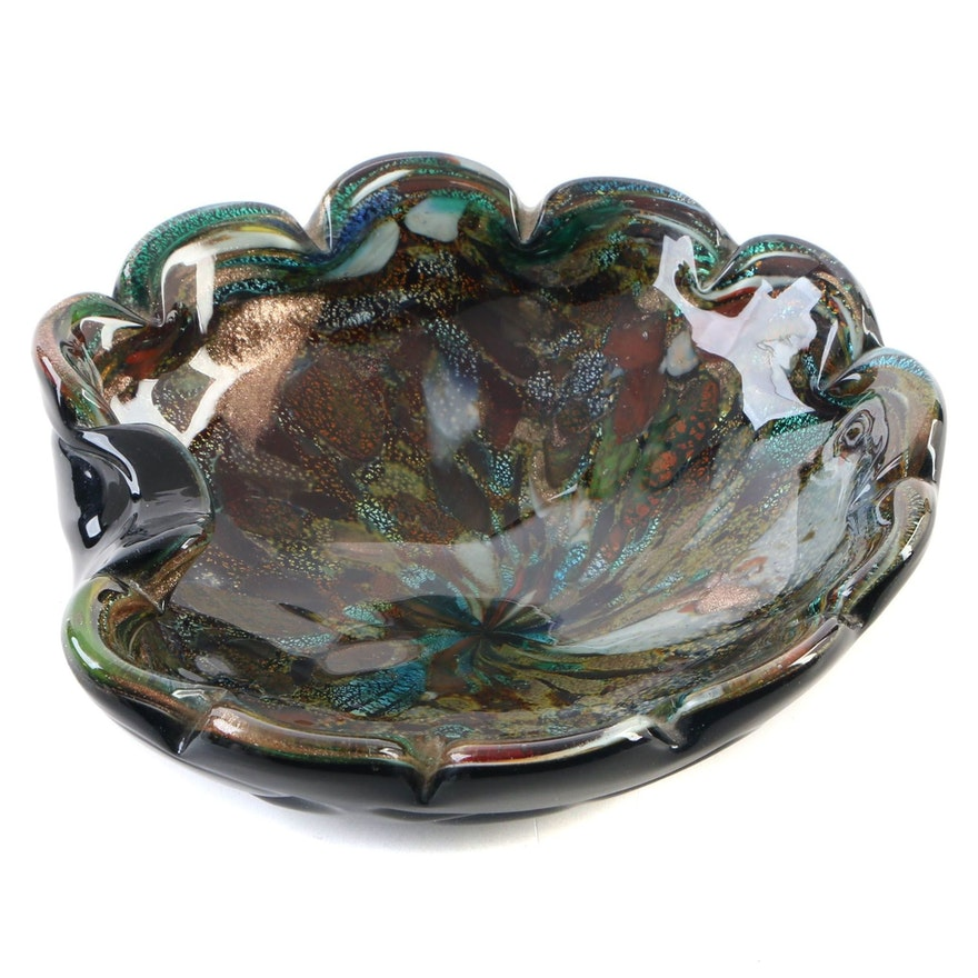 Italian Dichroic Glass Pinched Bowl