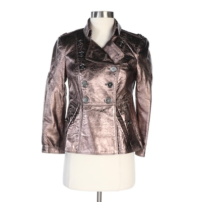 Burberry Metallic Bronze Crinkled Lambskin Leather Double-Breasted Jacket