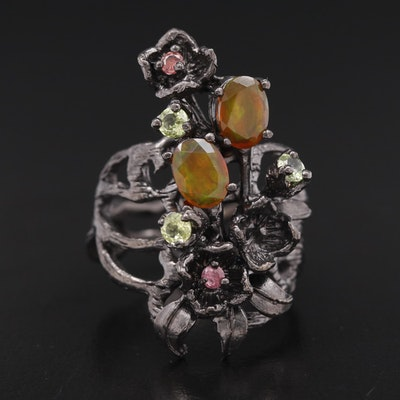 Sterling Silver Organic Design Multi Stone Ring with Floral Accents