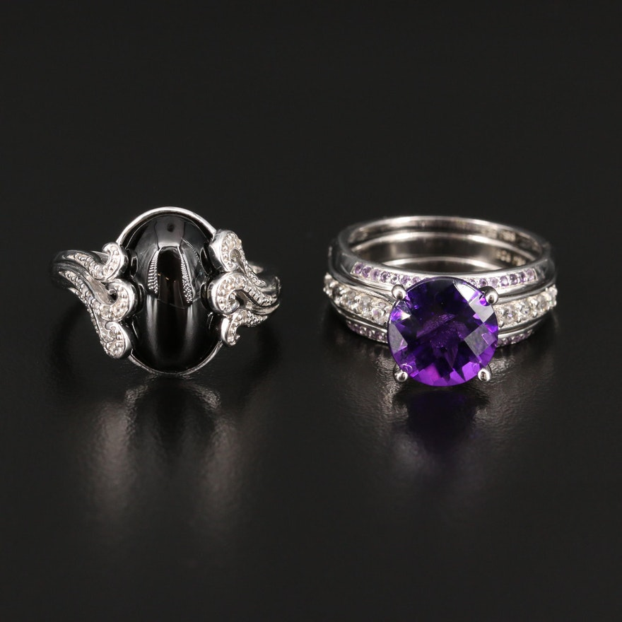 Sterling Silver Rings Featuring Amethyst, Sillimanite and Topaz