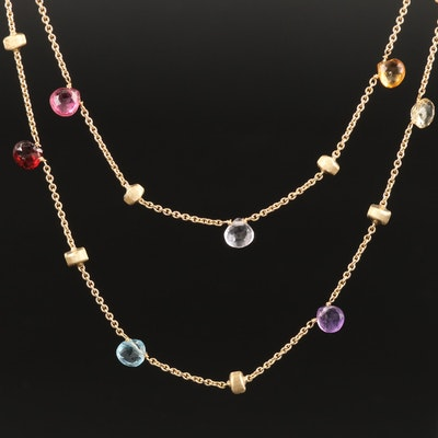 """Marco Bicego """"Paradise"""" Station Necklace Including Peridot and Citrine"""