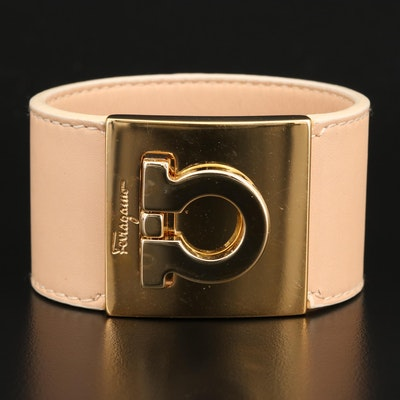 Ferragamo Gancini Leather Cuff Bracelet