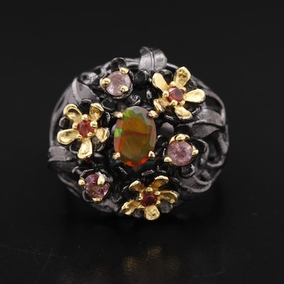 Sterling Silver Floral Design Ring with Opal, Tourmaline and Garnet