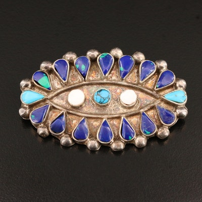 Mexican Sterling Silver Turquoise, Coral and Azurmalachite Converter Brooch