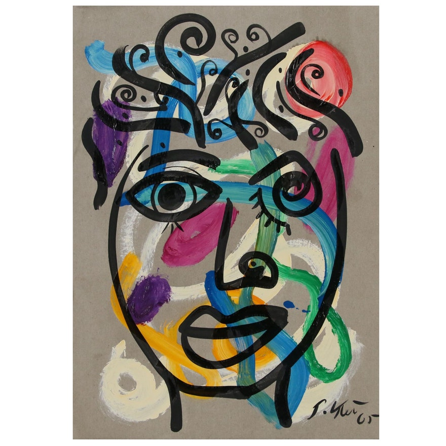Peter Keil Abstract Portrait Acrylic Painting, 1965