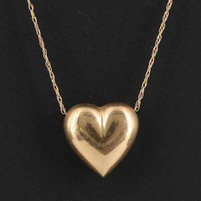 14K Puffed Heart Pendant Necklace