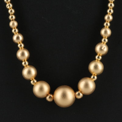 14K Graduated Bead Necklace with Satin Finish