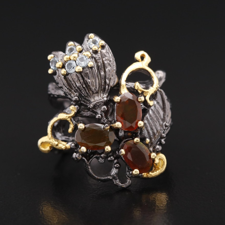Sterling Silver Opal and Topaz Ring Featuring Organic Design