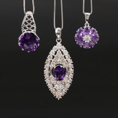 Sterling Silver Amethyst and Topaz Pendant Necklaces