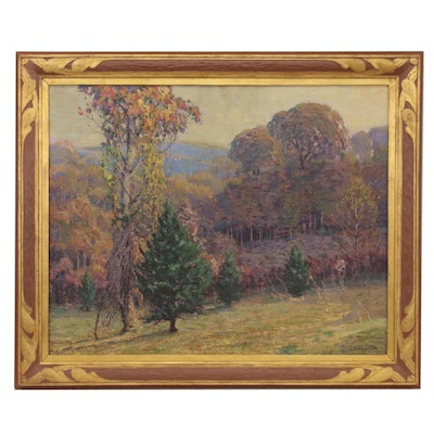 Louis Oscar Griffith Landscape Oil Painting of Forest Scene