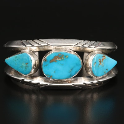 Carl Allen Begay Navajo Diné Sterling Silver Turquoise Cuff