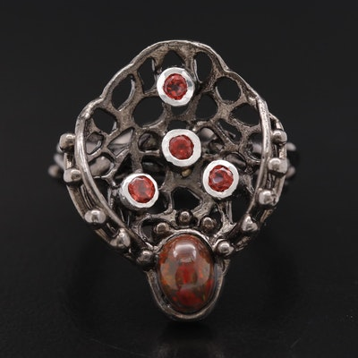 Sterling Silver Opal and Garnet Ring Featuring Organic Design