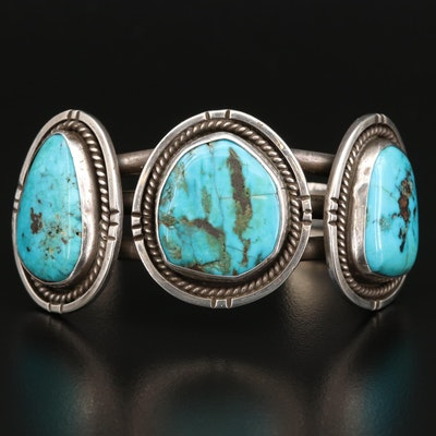 Western Style Sterling Silver and Turquoise Medallion Cuff Bracelet