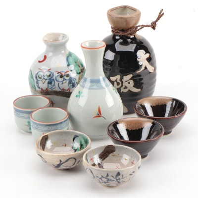 Porcelain and Ceramic Sake Sets, Vintage