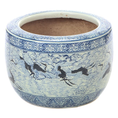 Japanese Crane Blue and White Ceramic Hibachi, Early to Mid 20th Century