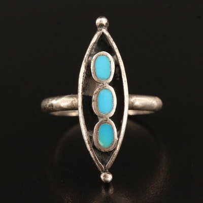 Southwestern Style Sterling Silver Navette Ring with Turquoise Inlay