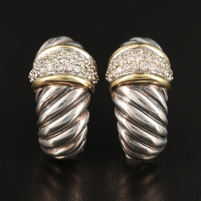 "David Yurman ""Cable"" Sterling Silver Diamond Half Hoop Earrings"
