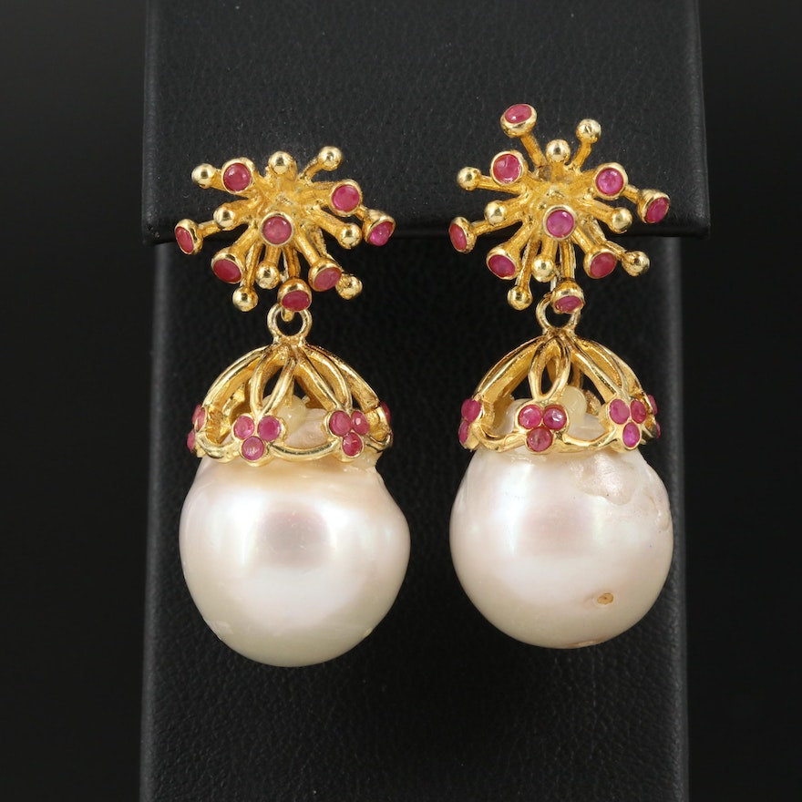 Sterling Silver Baroque Pearl and Ruby Drop Earrings