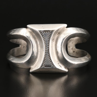 Southwestern Style Sterling Silver Cuff with Stamp Work Design