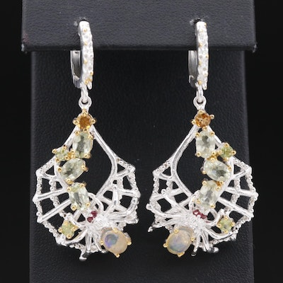 Sterling Silver Opal, Citrine and Peridot Spider Earrings