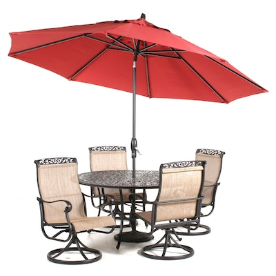 Cast Metal Patio Dining Set with Umbrella