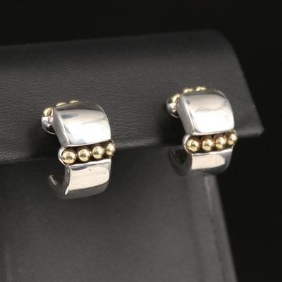 Caviar by Lagos Sterling Half Hoop Earrings with 18K Gold Accents