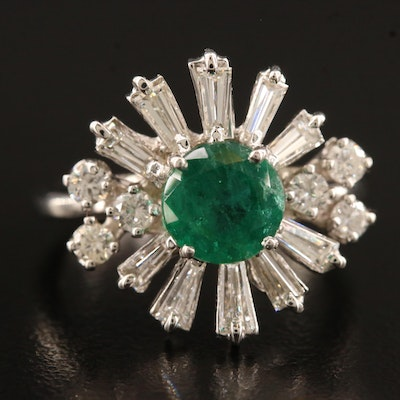14K Emerald and 0.90 CTW Diamond Ring