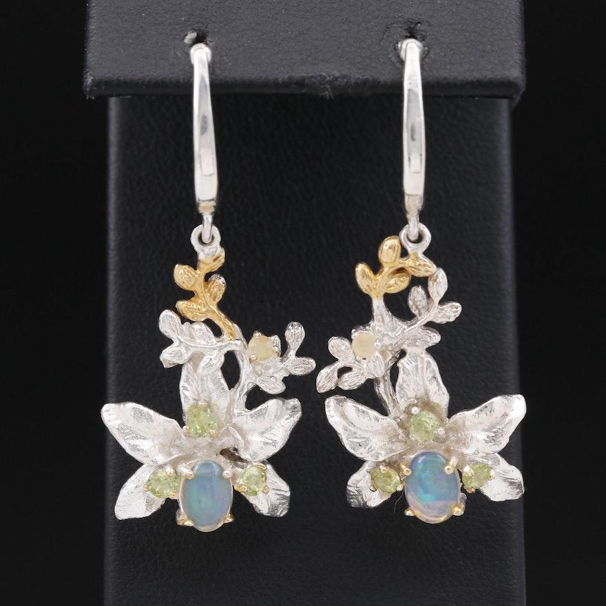 Sterling Silver Opal and Peridot Foliate Drop Earrings