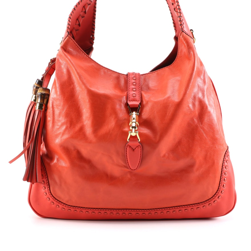 Gucci New Jackie Hobo in Red Leather with Burnished Bamboo and Leather Tassels