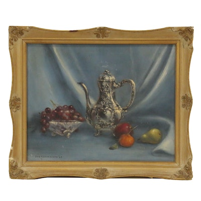 Ina Lee Wallace Connaway Oil Painting Still Life with Plants and Teapot, 1965