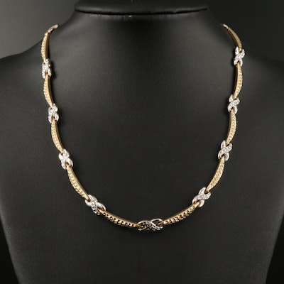 14K Two-Tone Link Necklace with Diamond Cut Pattern