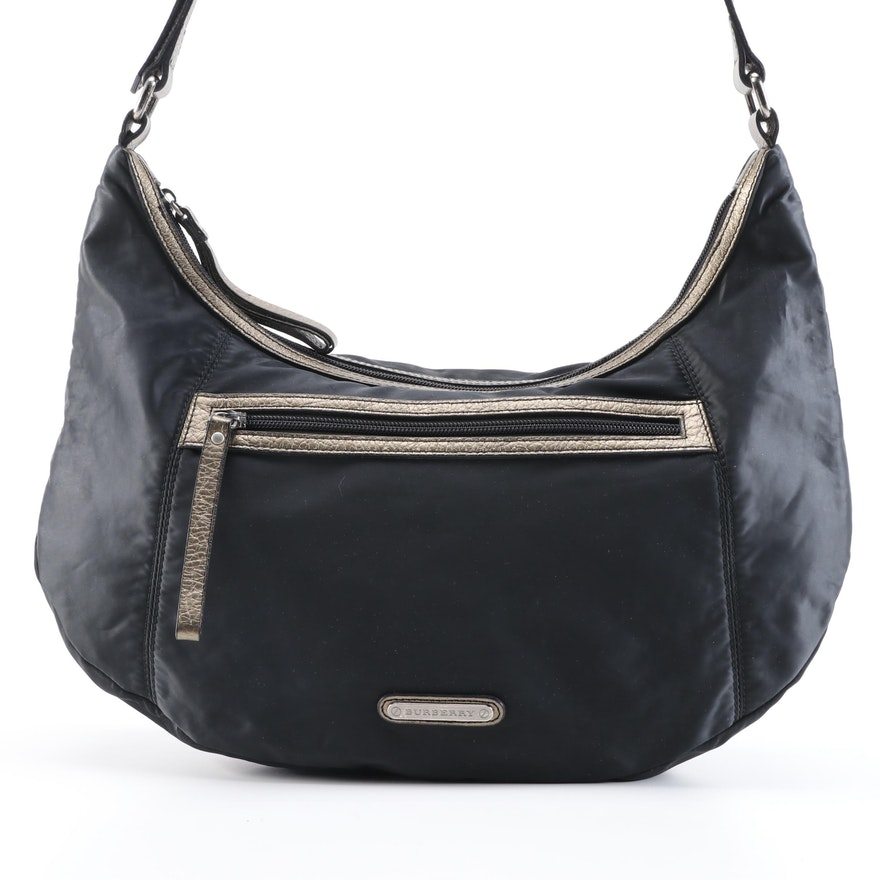 Burberry Black Nylon Hobo Bag with Metallic Gold Leather Trim