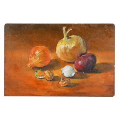Jacques Zuccaire Still Life Oil Painting of Onions, 20th Century