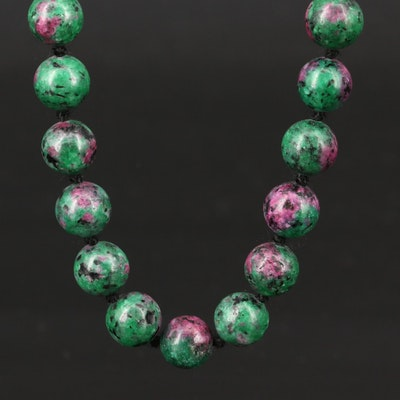 Faux Ruby-in-Zoisite Beaded Necklace with Sterling Clasp