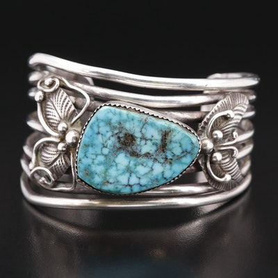Artist Signed Western Sterling Turquoise Cuff