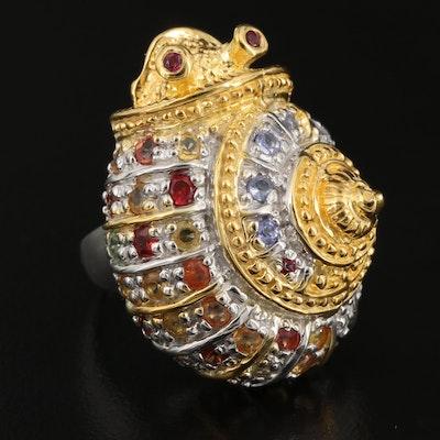 Sterling Tanzanite, Sapphire, and Rhodolite Garnet Snail Ring