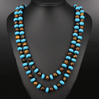 Tiger's Eye and Faux Turuqoise Beaded Endless Necklace